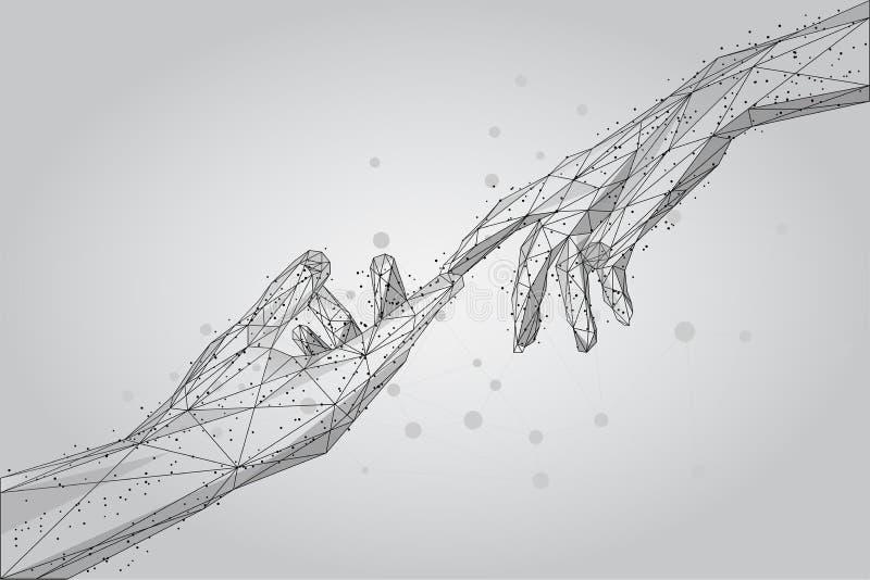 Mani umane del poli wireframe basso che toccano con le dita dalle linee, dai triangoli e dalle particelle illustrazione di stock