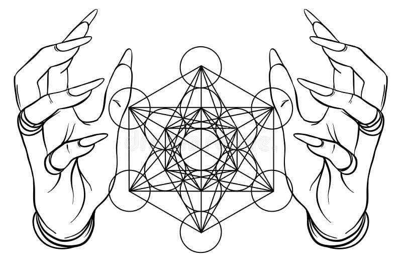 Mani umane di stile d'annata con i simboli sacri della geometria Dotwork illustrazione di stock