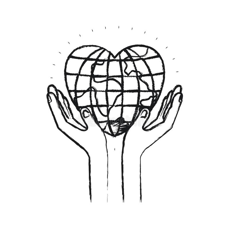 Mani vaghe della siluetta con il mondo del globo del terreno mobile nella forma del cuore illustrazione di stock