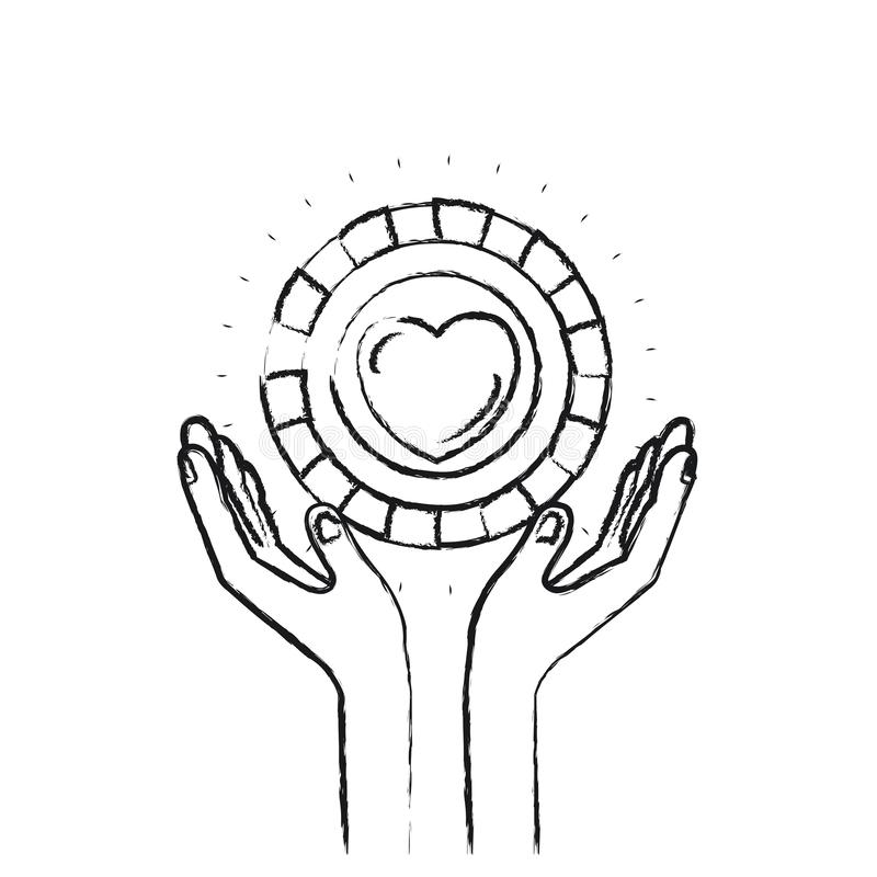 Mani vaghe della siluetta con la moneta di galleggiamento con forma del cuore dentro il simbolo di carità illustrazione vettoriale