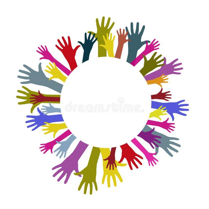 Mani variopinte del cerchio royalty illustrazione gratis