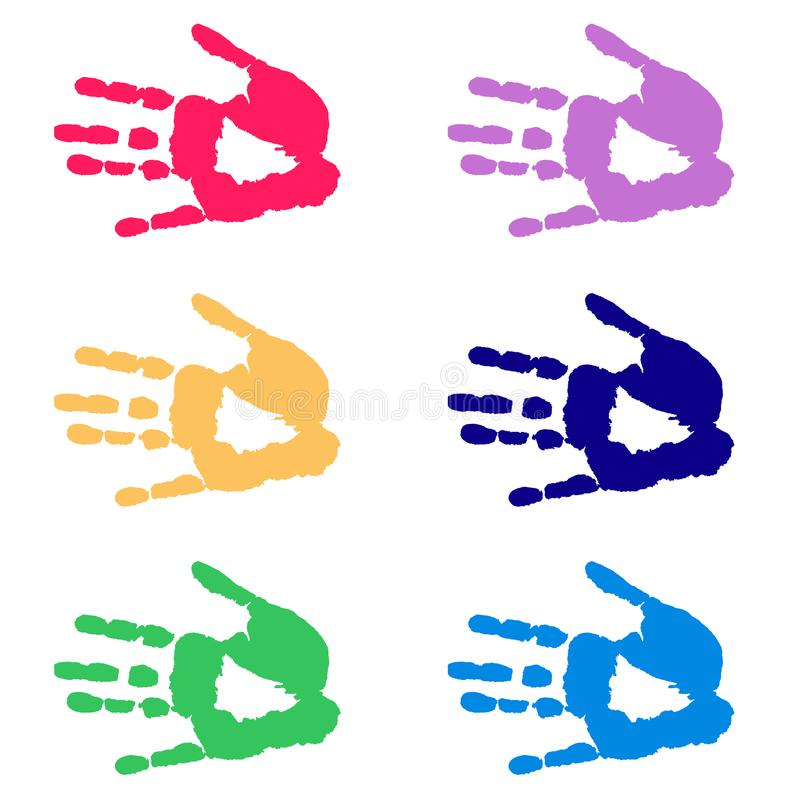 Mani variopinte - handprints isolati royalty illustrazione gratis