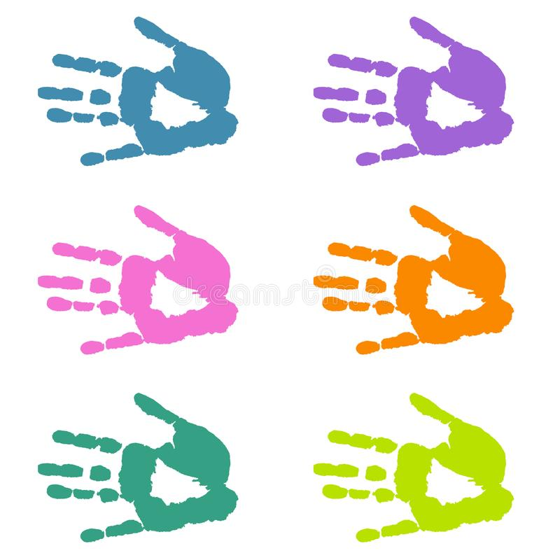 Mani variopinte - handprints isolati illustrazione di stock