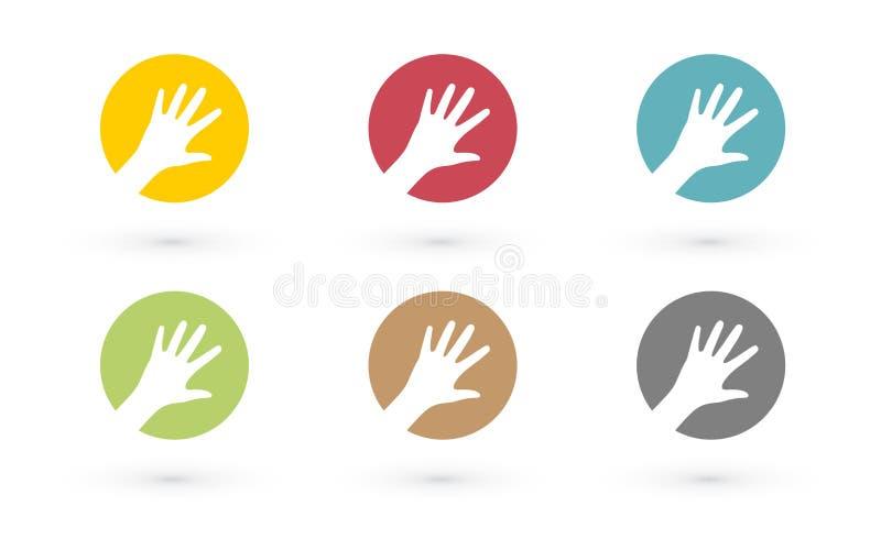 Mani variopinte nell'icona del cerchio royalty illustrazione gratis
