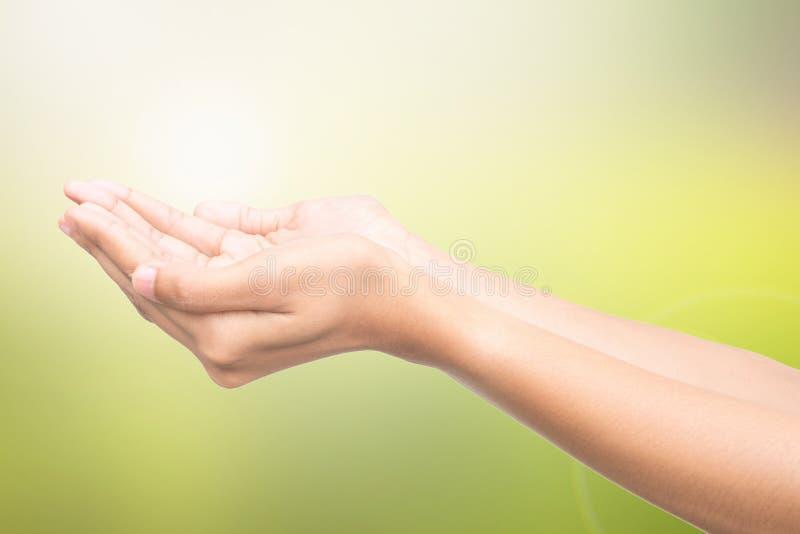Mani vuote aperte dell'essere umano fotografie stock
