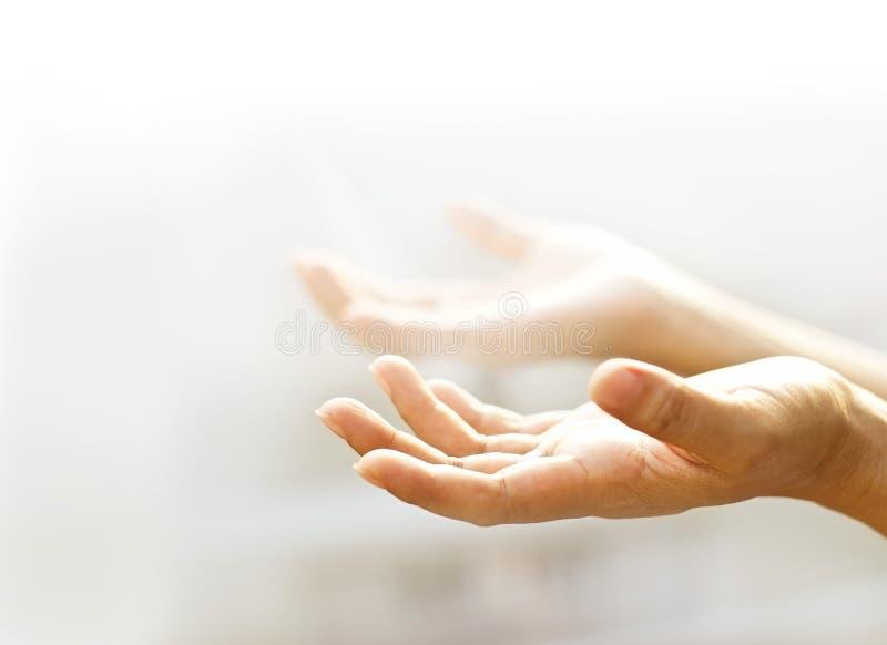 Mani vuote aperte dell'essere umano con fondo leggero fotografia stock