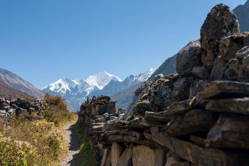 Mani Wall in Langtang-Vallei, het Nationale Park van Langtang, Rasuwa Dsitrict, Nepal stock afbeelding