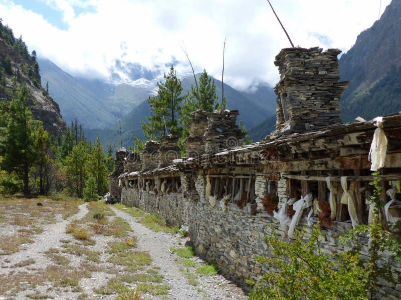 Mani wall near Pisang village stock photo
