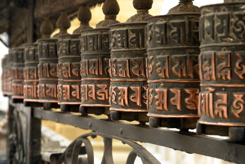 Mani-wiel in Swayambhunath stock afbeelding