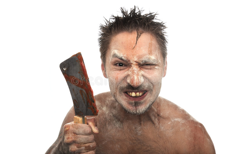 Maniac with a bloody hatchet. On the isolated background royalty free stock photo