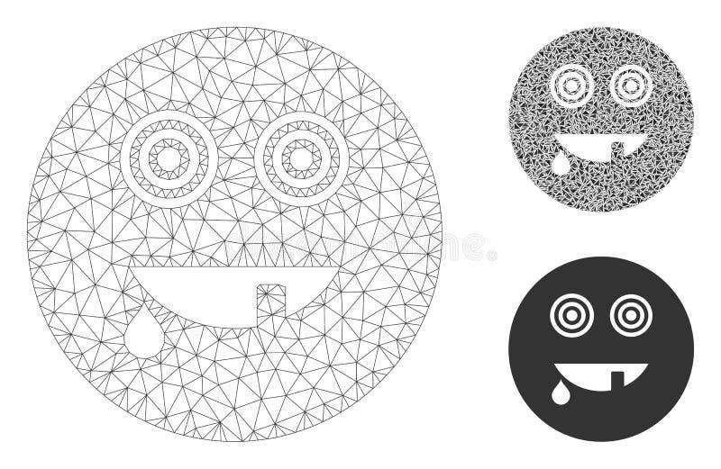Maniac Smiley Vector Mesh 2D Modell und Dreieck Mosaiksymbol vektor abbildung