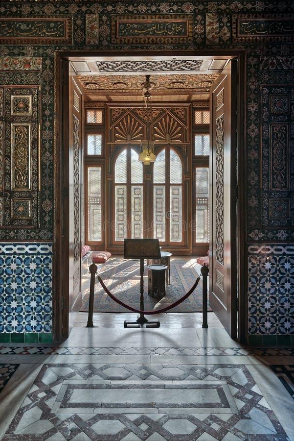 Manial pałac książe Mohammed Ali Wejście mały pokój przy recepcyjną sala obrazy royalty free