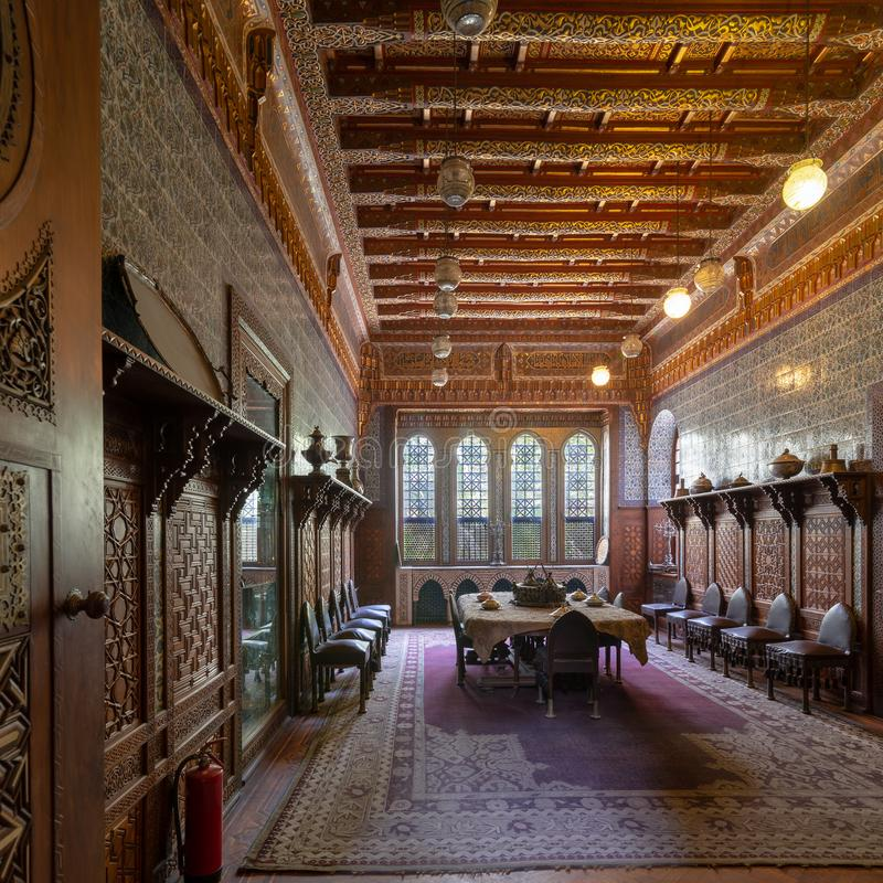 Manial Palace of Prince Mohammed Ali. Dining room at the Residence Building, Cairo, Egypt. Manial Palace of Prince Mohammed Ali. Dining room at the Residence stock photo