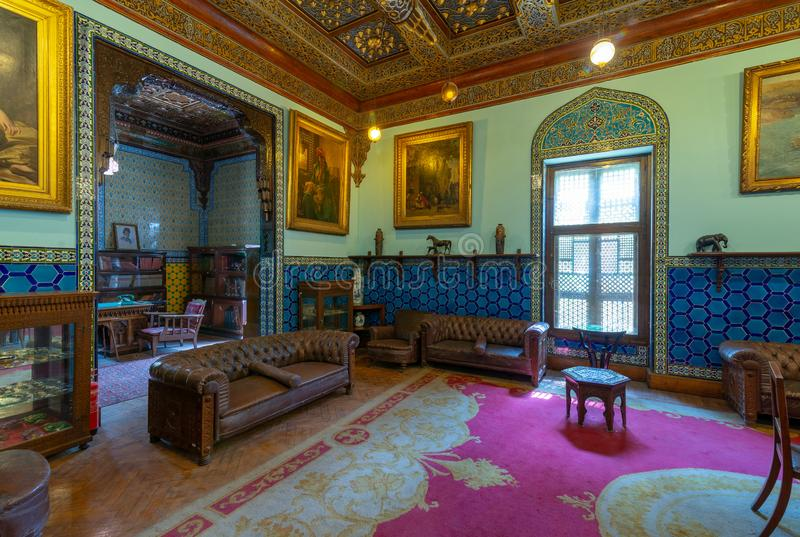 Manial Palace of Prince Mohammed Ali. Living room at the residence building with Turkish floral blue ceramic tiles, Cairo, Egypt. Manial Palace of Prince stock images