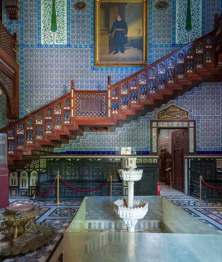 Manial Palace of Prince Mohammed Ali. Main hall of residence building with Turkish floral blue pattern ceramic tiles, Cairo, Egypt. Manial Palace of Prince stock photography
