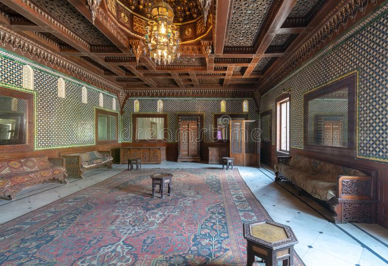 Manial Palace of Prince Mohammed Ali. Moroccan hall with blue Turkish floral pattern ceramic tiles, Cairo, Egypt. Manial Palace of Prince Mohammed Ali. Moroccan stock image
