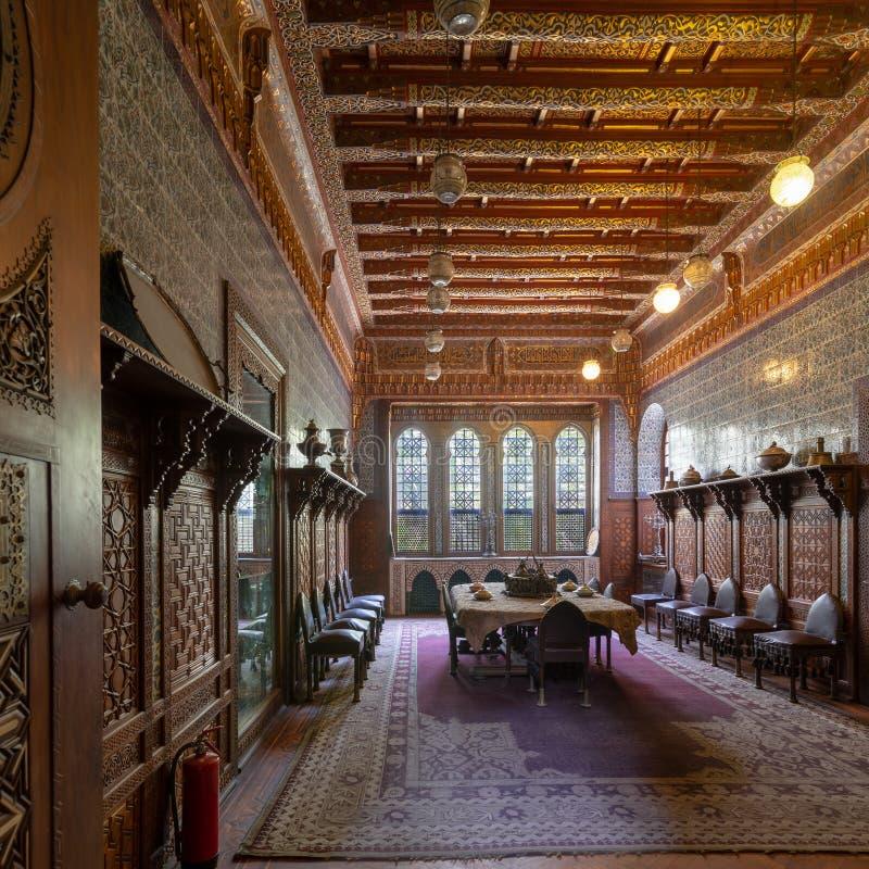 Manial slott av prinsen Mohammed Ali Matsal på uppehållbyggnaden, Kairo, Egypten arkivfoto