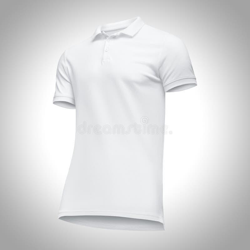Manica bianca di short della camicia di polo degli uomini in bianco del modello, mezzo giro di vista frontale dal basso, su fondo immagine stock