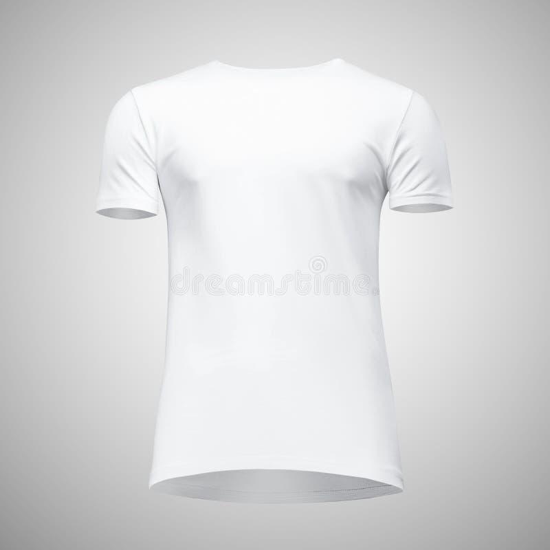 Manica bianca di short della maglietta degli uomini in bianco del modello, vista frontale dal basso, su fondo grigio Maglietta di fotografia stock