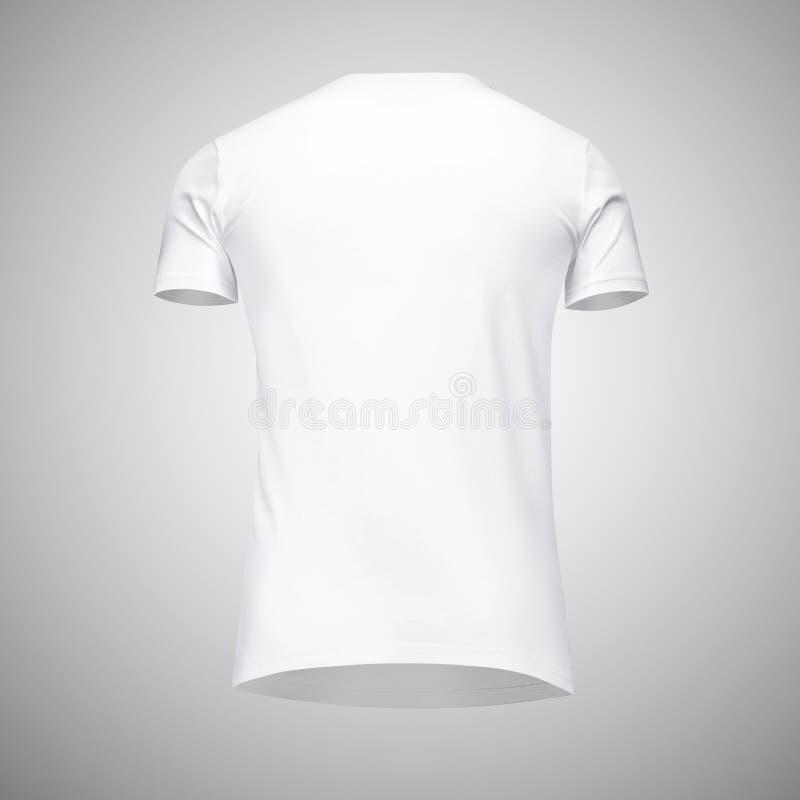 Manica bianca di short della maglietta degli uomini in bianco del modello, vista posteriore dal basso, su fondo grigio con il per fotografie stock