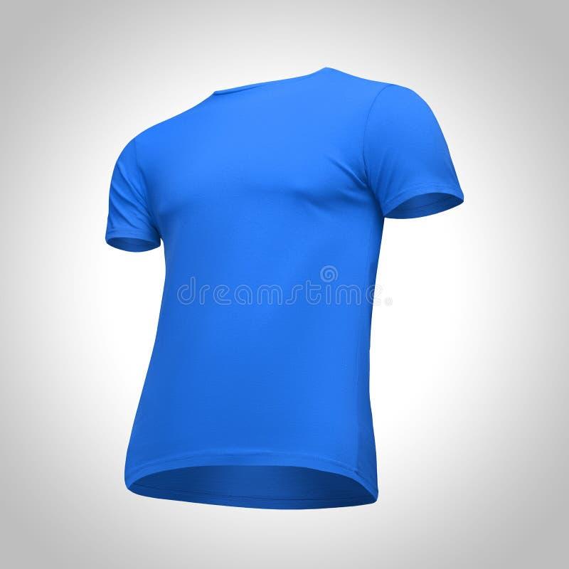 Manica blu di short della maglietta degli uomini in bianco del modello, mezzo giro di vista frontale dal basso, su fondo grigio M immagini stock