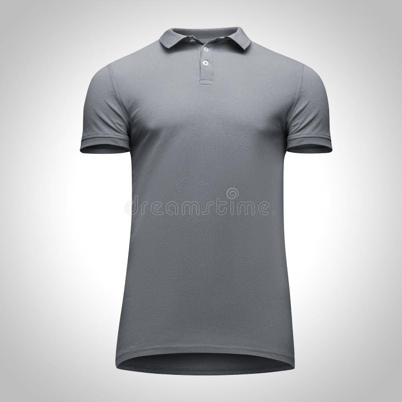 Manica grigia di short della camicia di polo degli uomini in bianco del modello, vista frontale dal basso, su fondo grigio con il immagini stock libere da diritti