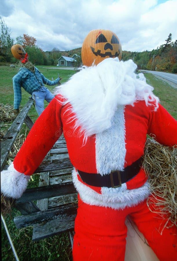 Manichino di Halloween vestito come Santa Claus, Wilmington, Vermont fotografia stock