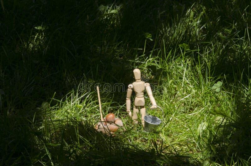 Manichino di legno in erba verde con il secchio e la pala miniatura fotografia stock