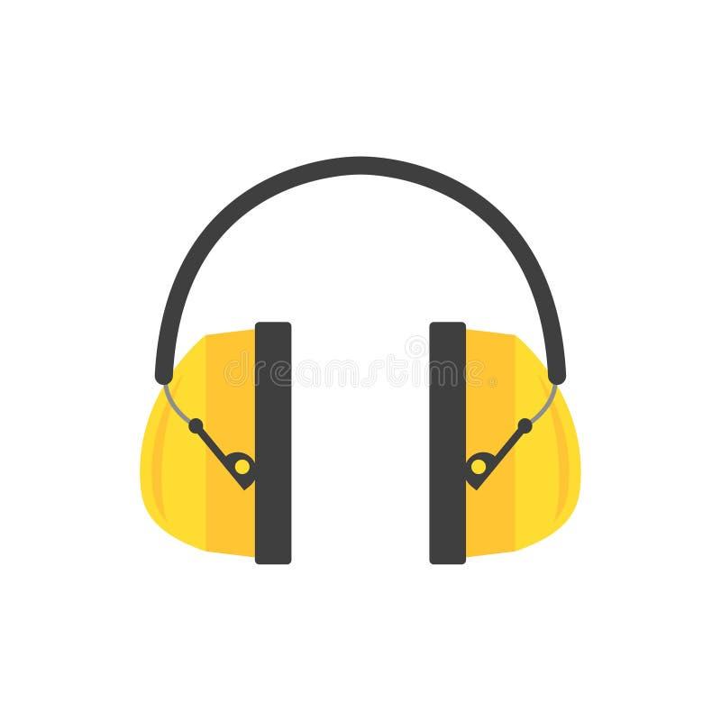Manicotti protettivi dell'orecchio Cuffie gialle per il muratore Attrezzatura professionale per sicurezza di udito Vettore piano illustrazione di stock