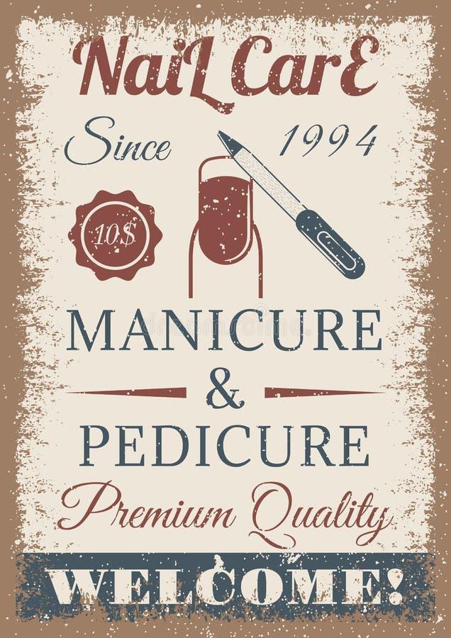 Manicura y cartel coloreado vintage de la pedicura stock de ilustración