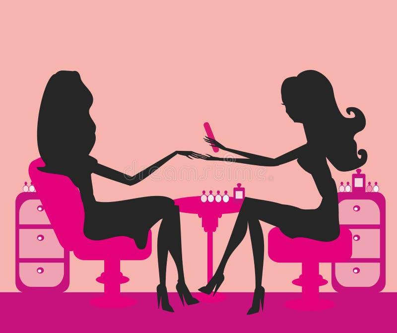 manicure в салоне красотки иллюстрация штока