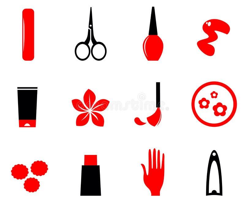 Manicure, косметики и иконы красотки бесплатная иллюстрация