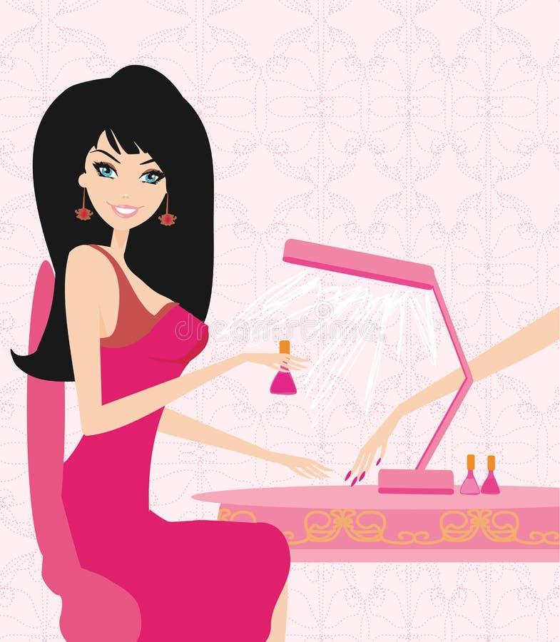 Manicure in beauty salon. Lady doing manicure in beauty salon