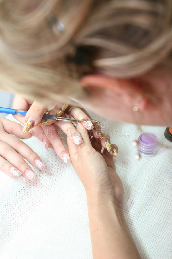 Manicure of the bride stock photography
