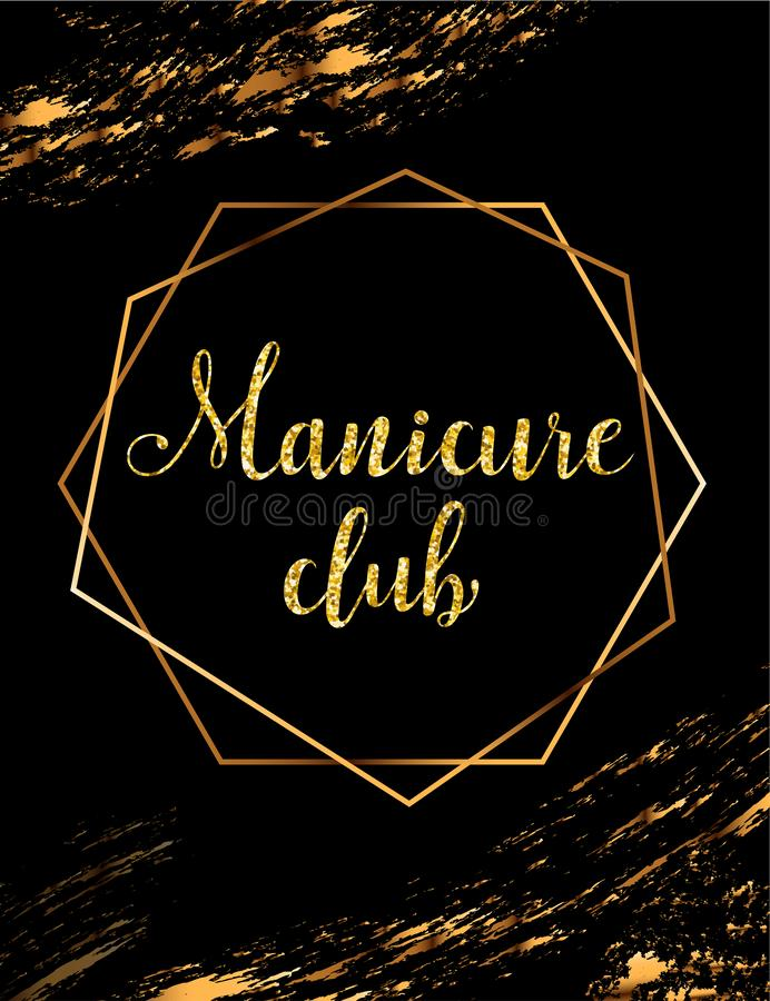 Manicure club vector poster with gold headline. Manicure vector poster with gold crystal glare headline, manicure club logo, banner for beauty master, signboard