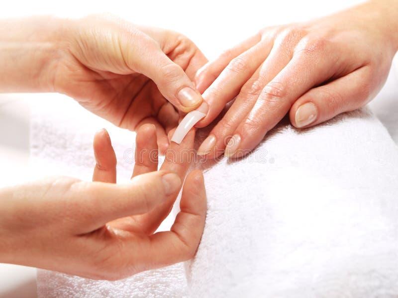 Manicure del gel, estetista delle unghie esteso immagine stock libera da diritti