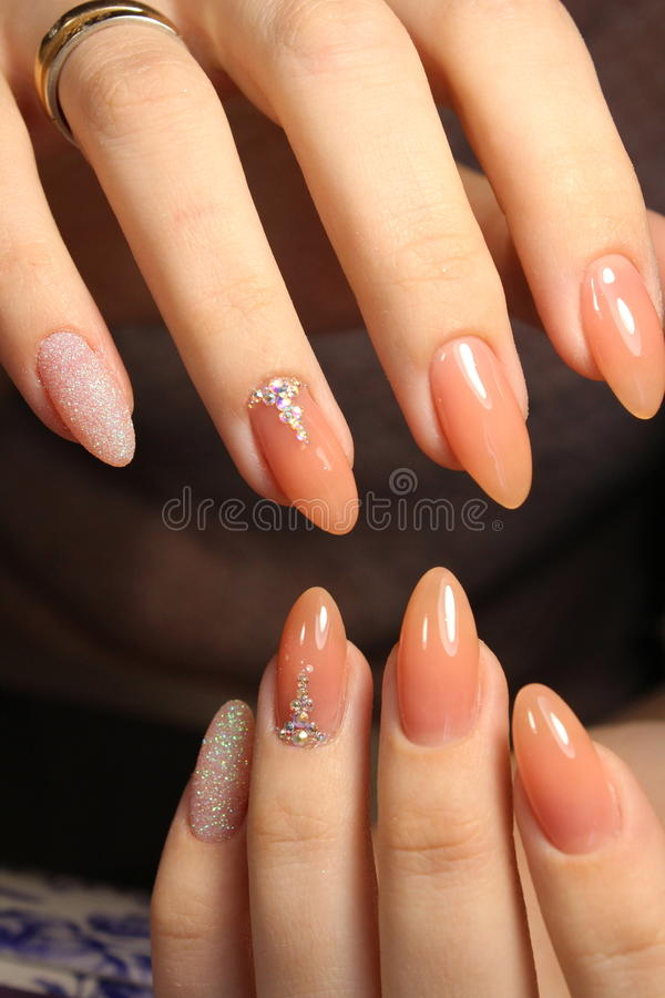 Manicure design camouflage colors stock photography