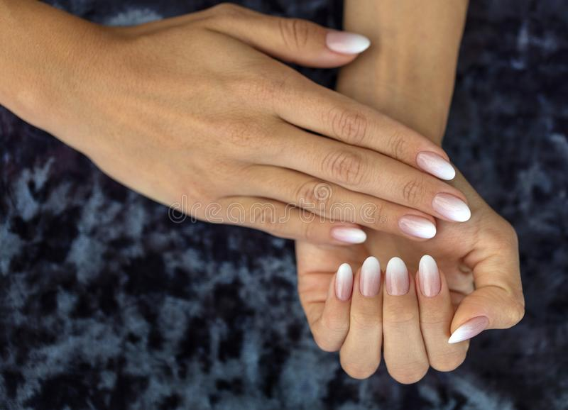 Manicure Design French Ombre Peach And White Stock Image - Image of ...