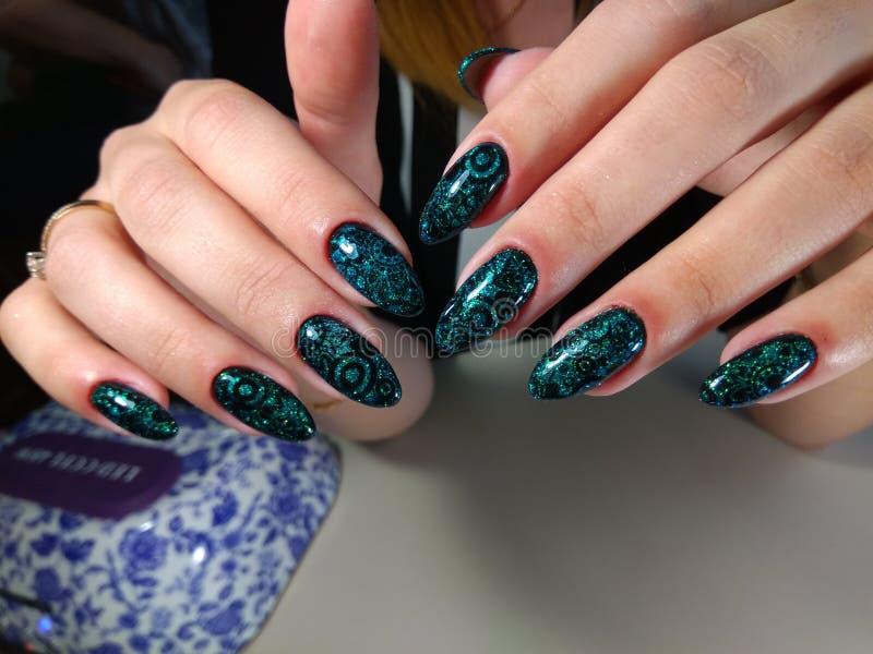 Manicure design, sea nails royalty free stock photo