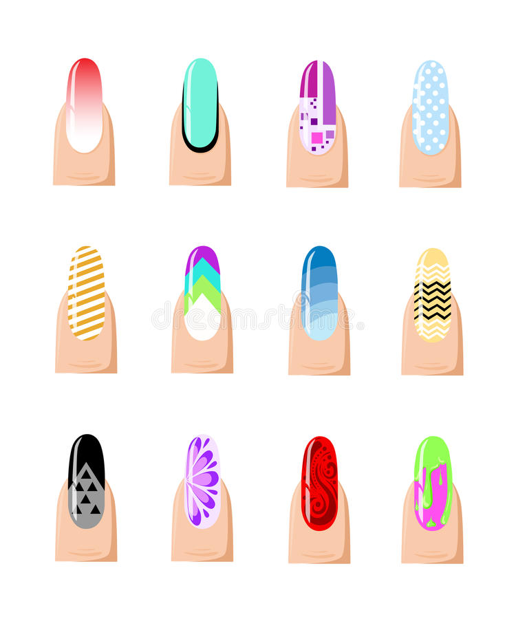 Manicure Design Set. Colorful Texture For Nail Salon Set Of Colored ...