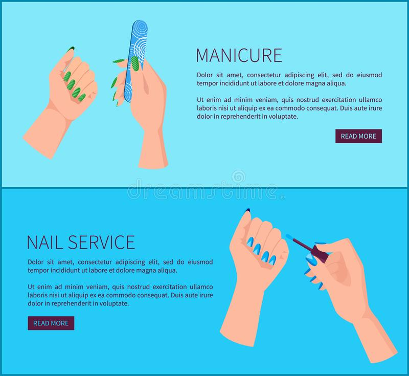 Manicure e pagina di promo di Internet di servizio dell'unghia illustrazione vettoriale