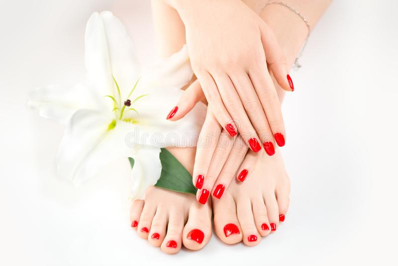 Manicure e pedicure nel salone della stazione termale Skincare Mani e gambe femminili sane con i bei chiodi immagine stock libera da diritti