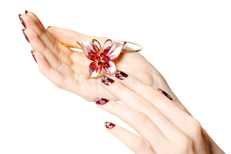 Manicure en parels royalty-vrije stock afbeeldingen