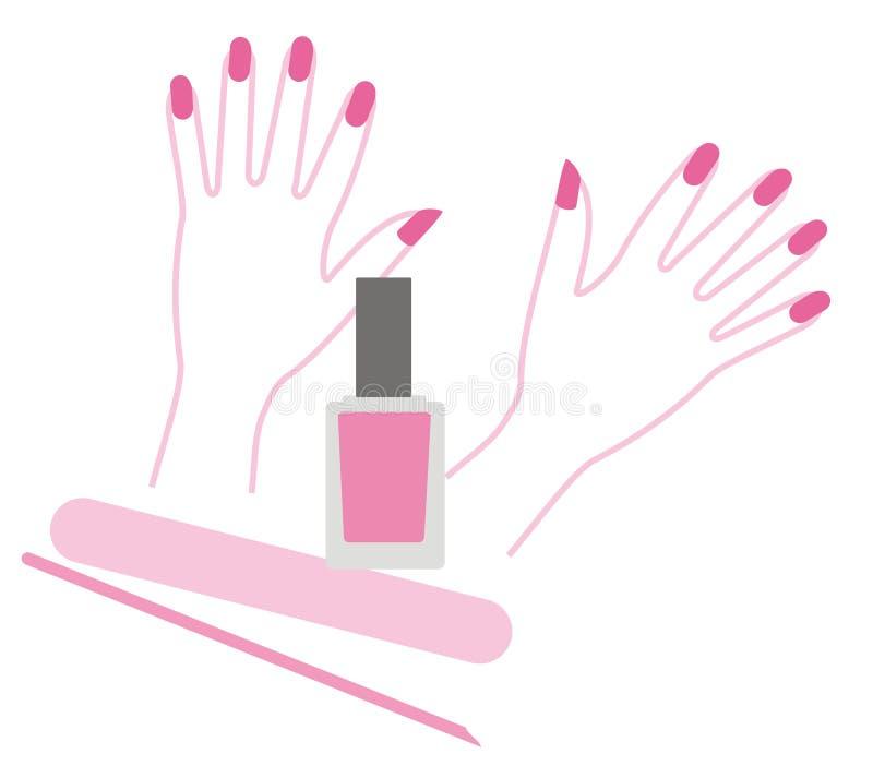 Manicure en poetsmiddel royalty-vrije illustratie
