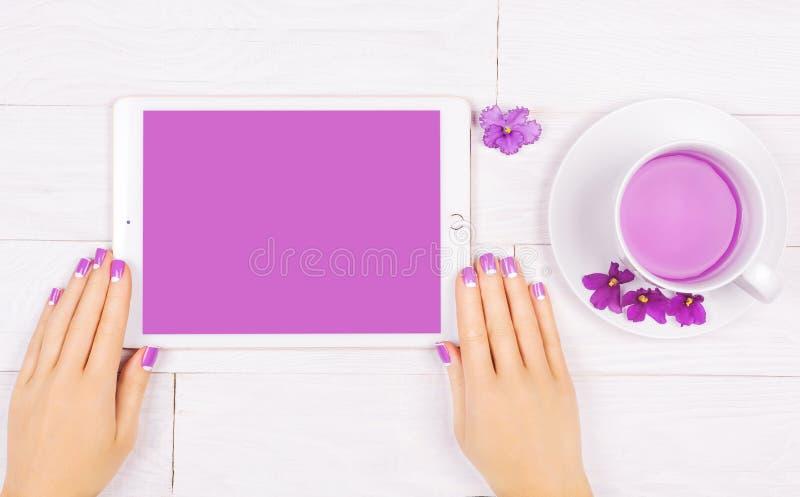 Manicure francese con i fiori viola Stazione termale fotografia stock libera da diritti