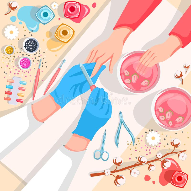 Manicure, hands and nails care top view illustration. Beauty salon and spa procedure concept royalty free illustration