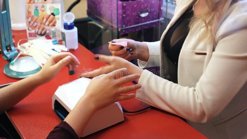 Manicure i skönhetsalong Den selektiva fokusen på dräkt` s spikar stock video