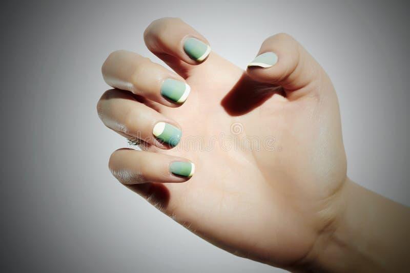 manicure Kvinnligt räcker i kvinna för skönhetsalong schellackpolermedel spika royaltyfri bild