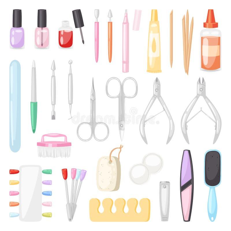 Manicure la pedicura del vector y clavo-fichero manicuring del accesorio o de las herramientas o las tijeras del manicuro en el e libre illustration