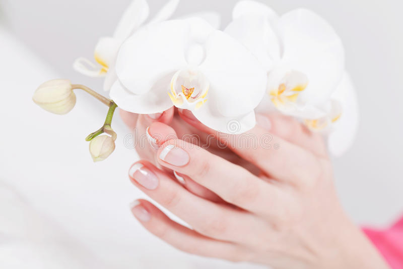 Manicure making in beauty spa salon royalty free stock photography